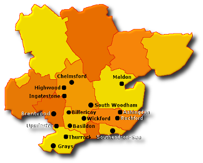 KAT Locksmiths Areas Covered Essex Map